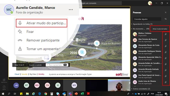 Ativar Mudo de Participante no Microsoft Teams