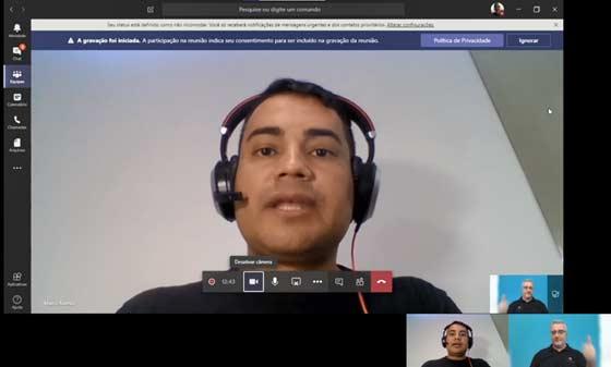 Videoconferência no Teams pelo navegador